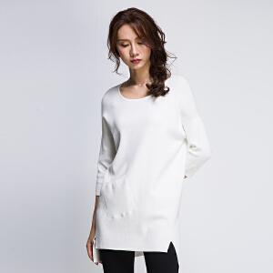 韩版宽松长袖针织衫2017秋装新款圆领侧开叉前短后长中长款上衣薄