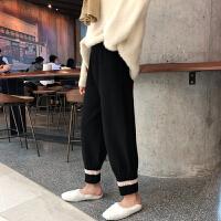 裤子女秋冬新款韩版宽松高腰针织裤哈伦裤坠感萝卜裤女阔腿裤