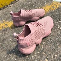 弹力袜子鞋女韩版飞织休闲运动鞋老爹鞋跨境女鞋子