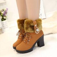 2019新款女士秋冬季马丁靴女英伦风高跟短靴粗跟雪地靴加绒女靴 棕色(加棉) 35