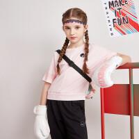 【折后叠券预估价:40.7】361度童装 女童T恤2020年夏季新品儿童短袖舒适透气上衣N62023205