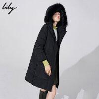 【不打烊价:704.7元】 Lily秋冬新款女装时尚保暖大毛领口袋中长款羽绒服118430D1537
