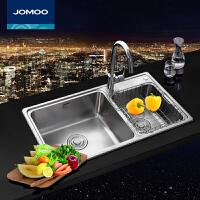 九牧(JOMOO)九牧不锈钢水槽套餐 双槽洗菜盆洗碗池淘菜盆 06122祼槽 02115全套