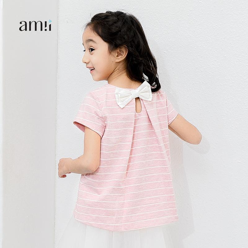 AMII童装2017夏装新款女童条纹短袖T恤中大童儿童后背蝴蝶结上衣.