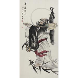 北京美术家新锐联盟一级画师 健松 《达摩渡水》69*138cm
