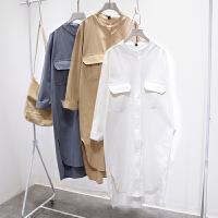 新款韩国孕妇衬衫长袖衬衣春秋季长款哺乳连衣裙时尚孕妇春装上衣 均码