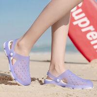 男女洞洞鞋女夏软底平跟旅游果冻沙滩凉鞋女士塑胶拖鞋包头花园鞋 9068紫色(偏小一码) (按平时穿鞋码号拍大一码