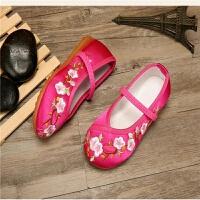老北京布鞋儿童女绣花鞋中国风古装汉服绣花鞋女学生舞蹈表演出鞋 玫