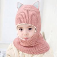 女宝宝帽子秋冬2-3-5岁围脖一体护耳男童潮保暖儿童帽子