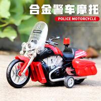 儿童男孩宝宝合金玩具车摩托车警车模型回力车