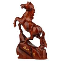 实木质十二生肖马风水摆件木马红木工艺品马到成功 前程似锦马