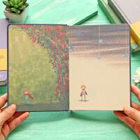 欧式手绘复古风笔记本小王子彩页插画日记本文具创意记事本本子
