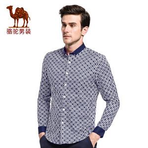 骆驼&熊猫联名系列男装 时尚男士扣领尖领修身长袖几何休闲衬衫男