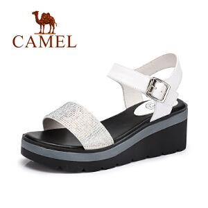 Camel/骆驼女鞋 夏季新款 休闲简约水钻凉鞋坡跟舒适鞋