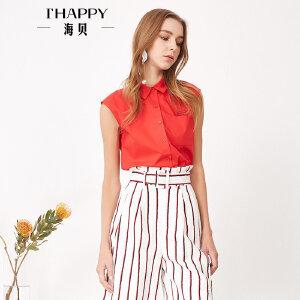 海贝夏季新款女装 纯色全棉翻领印花单口袋抽绳下摆无袖衬衫