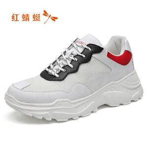 红蜻蜓男鞋春季2019新款网布跑鞋白色运动休闲鞋厚底潮鞋男老爹鞋C0191390