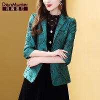 【开业狂欢 到手价:236元】丹慕妮尔绿色复古女士西装外套秋季2019新款时尚气质修身休闲西服