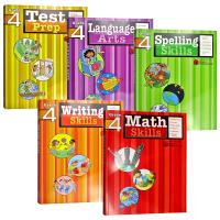 英文原版 Flash Kids美国小学四年级英语 写作 拼读 测试 数学技巧 语言艺术Writing Spelling