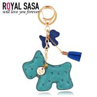 皇家莎莎PU皮钥匙挂坠饰品合金小狗钥匙扣女包包汽车钥匙圈钥匙链