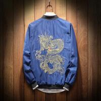 春季新品男装加肥加大码刺绣龙纹男夹克青少年韩版潮流立领外套