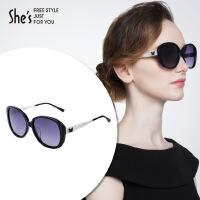 【商场同款】She's茜子 女士太阳眼镜 百搭撞色圆框偏光太阳镜 板材大框架墨镜 服装配饰礼物
