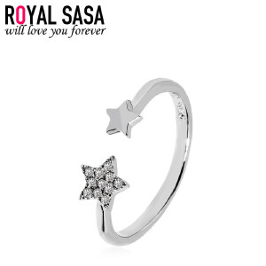 皇家莎莎925银戒指女日韩时尚个性创意仿水晶星星食指环潮人饰品送女友