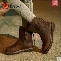 Z.Suo/走索女鞋潮流女靴子秋冬英伦中筒靴骑士靴女短靴子马丁靴