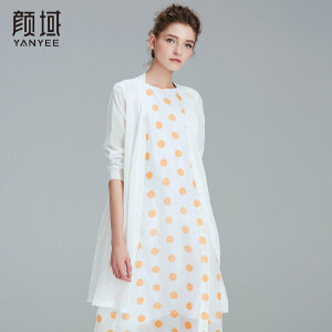 颜域品牌女装2018春夏新款优雅气质麻质感纱线中长款宽松针织外披