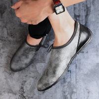 豆豆鞋男鞋夏季皮鞋懒人个性平底休闲鞋小脏鞋乐福鞋复古做旧潮鞋