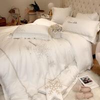 【人气】法式进口丝滑80支双面天丝四件套简约白色轻奢刺绣床上用品 5件套