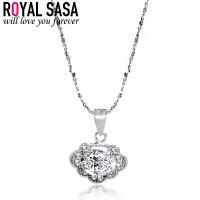 皇家莎莎银项链女925银仿水晶简约锁骨链如意韩版银饰品送女友生日礼物