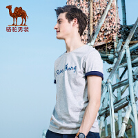 骆驼男装 2017夏季新款时尚字母印花青年休闲圆领纯棉短袖T恤衫男