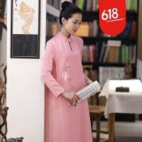 原创设计师原创精品手绘文艺复古连衣裙 秋冬打底长裙 粉色玉兰花GH026 粉红色