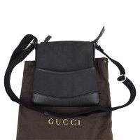 Gucci古驰男士20x20cm双G图案黑色布拼皮斜挎包 374416 黑色 20*20cm