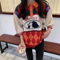 韩风学院风polo领可爱卡通印花字母七分袖针织衫女宽松上衣