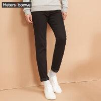 【狂欢返场,专区1件3折】美特斯邦威休闲长裤男士冬季新款黑色修身显瘦加绒加厚裤子
