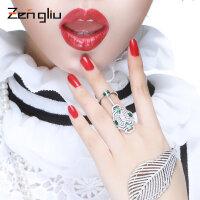 925银戒指 女日韩版时尚食指环饰品 绿色潮人个性关节连体双戒子