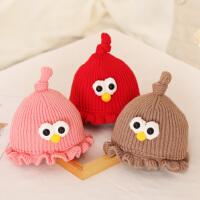婴儿帽子秋冬季0-3-6-12-18个月女宝宝公主毛线帽婴幼儿针织帽