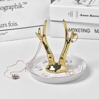 欧式象牙白陶瓷首饰架珠宝项链首饰托盘金色鹿角收纳盘创意摆件抖音同款 金色鹿角戒指托盘白+金色