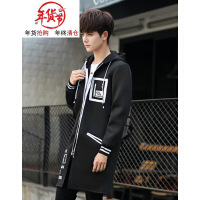 中长款风衣男士加绒修身大衣韩版青少年秋冬季学生加厚帅气外套潮