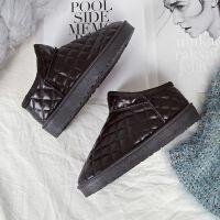 雪地靴女短筒皮靴子女棉鞋韩版百搭平底面包鞋加绒小短靴冬季女鞋