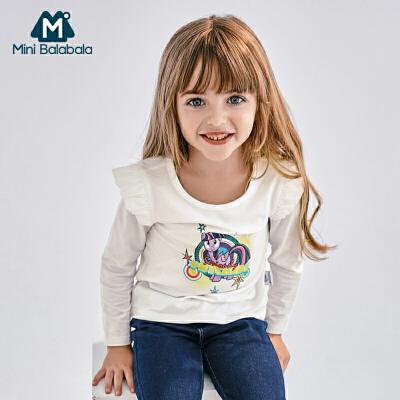 【限时秒杀价:43】迷你巴拉巴拉女童圆领长袖T恤秋新款童装女宝宝小马宝莉体恤