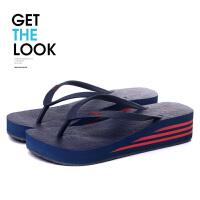 夏季多彩妆鞋女士人字拖橡胶底防滑厚底夹拖凉拖鞋松糕沙滩鞋坡跟 36 偏小一码 女款