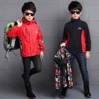 男童可拆卸冲锋衣三合一秋冬童装中大童9外套户外上衣