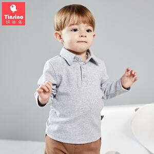 【1件3折价:44.7】纤丝鸟(TINSINO)童装男童长袖T恤女童翻领打底衫儿童polo衫宝宝上衣