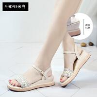 坡跟凉鞋女仙女风2019新款夏季平底气质时尚中跟编织网红鞋子