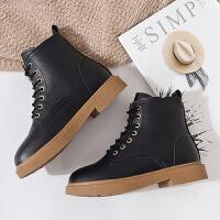 短靴女冬2019新款靴子英伦风chic马丁靴女百搭厚底加绒雪地靴