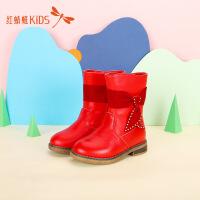【1件2.5折后:52.25元】红蜻蜓冬靴新款可爱蝴蝶结低跟舒适百搭纯色女童儿童中筒雪地靴