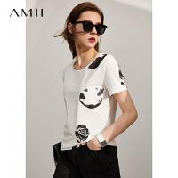 Amii极简港风印花纯棉T恤女2021夏季新款圆领修身白色短袖上衣