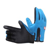 户外运动触屏保暖手套男女冬季全指厚抓绒防滑防水滑雪骑行登山